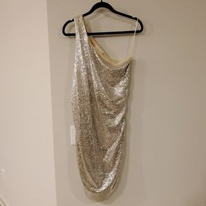 Michael Kors one shoulder sequin dress